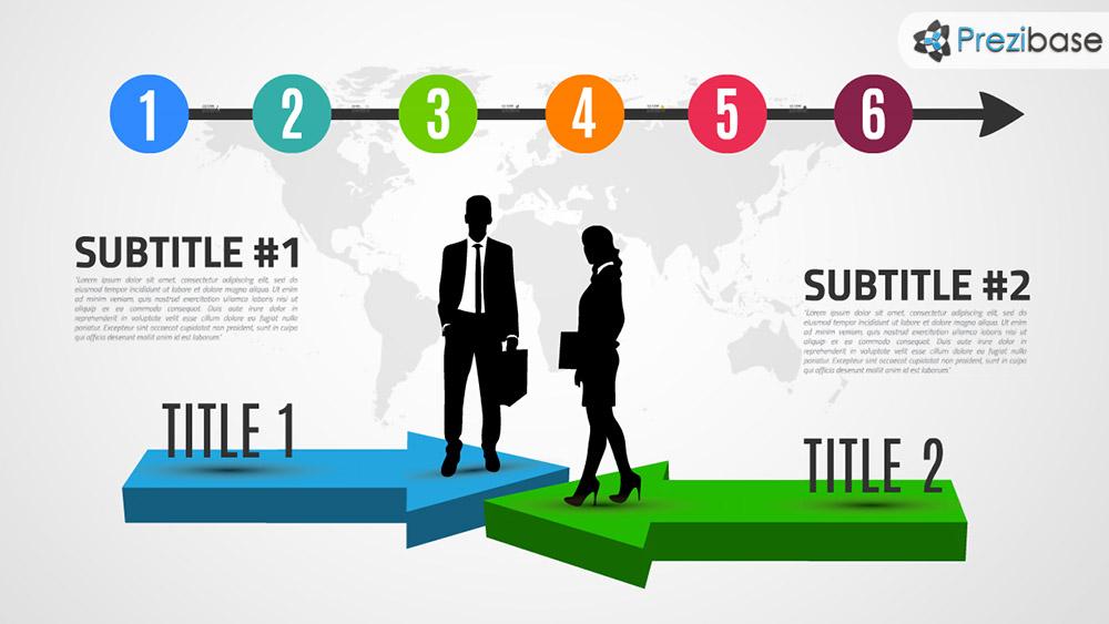 Creative 3D successful business concept arrows prezi template for presentations