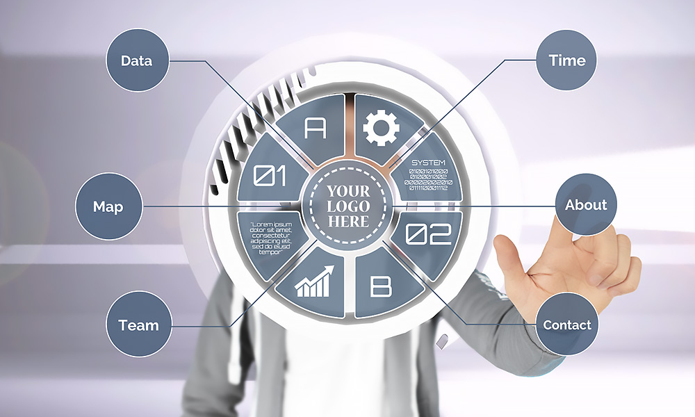 Creative technology circle interface Prezi Next template