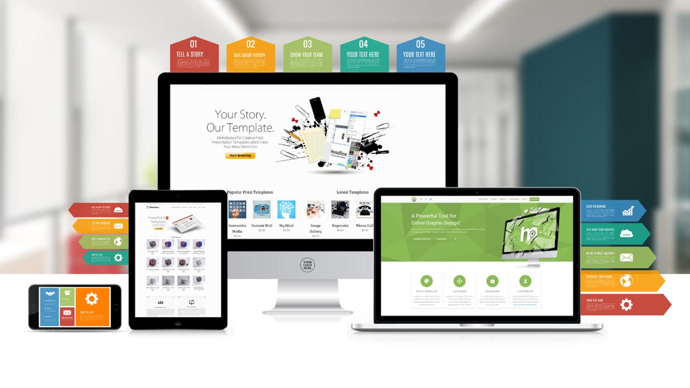 Technology brand Prezi presentation template IOS devices