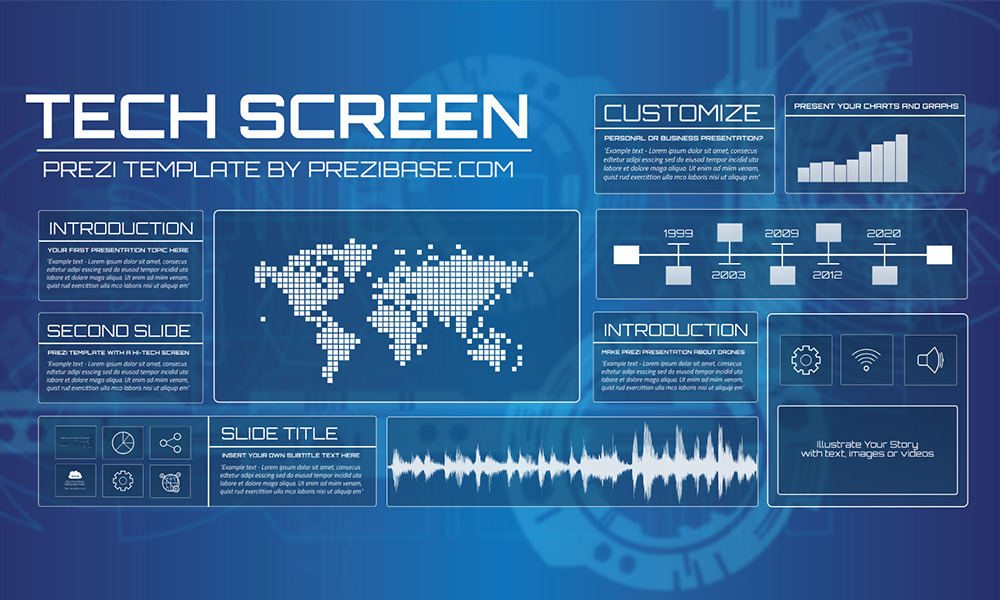 blue technology futuristic screen layout prezi template for presentations