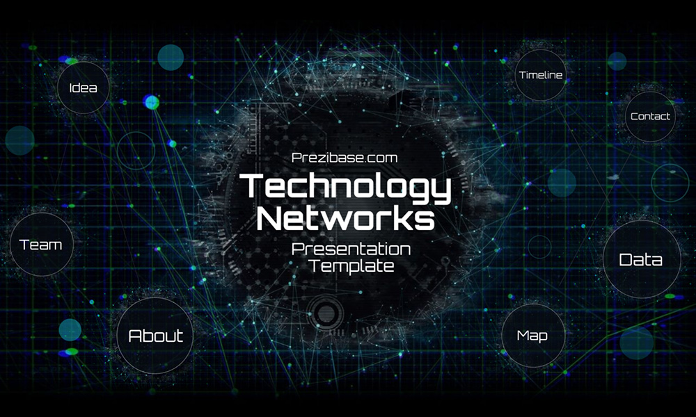 Dark technology network futuristic presentation template for Prezi