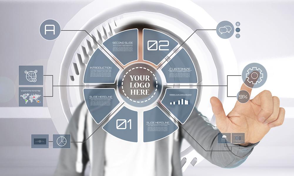 Creative 3D Technology circle interface Prezi presentation template
