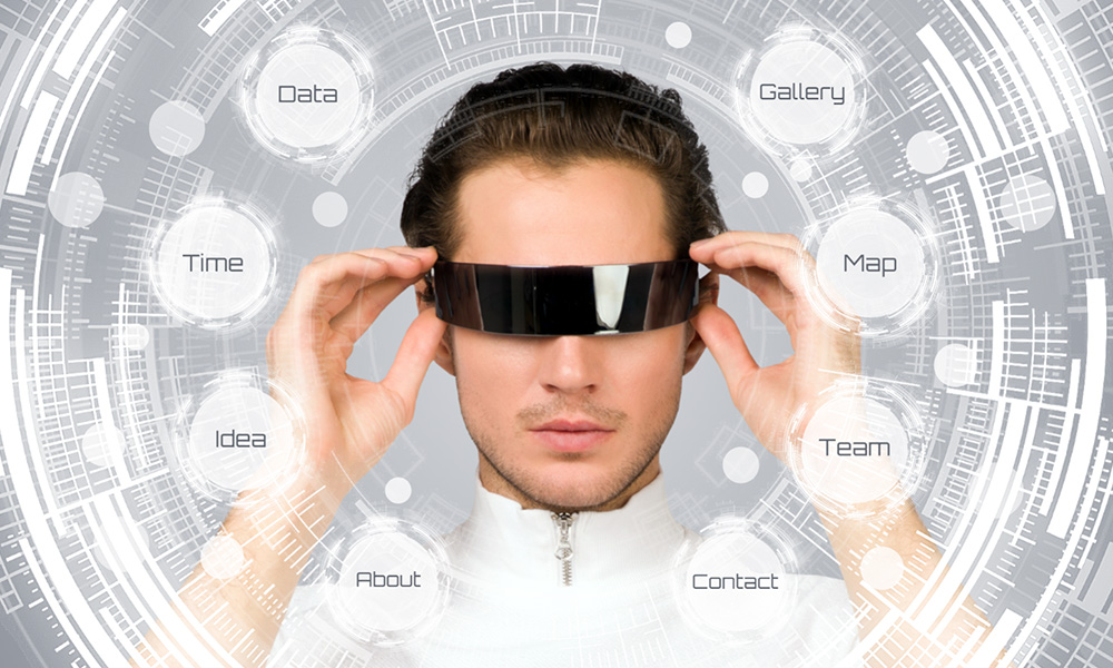 Future tech vision presentation prezi template with man wearing VR goggles and AR interface hovering in the air