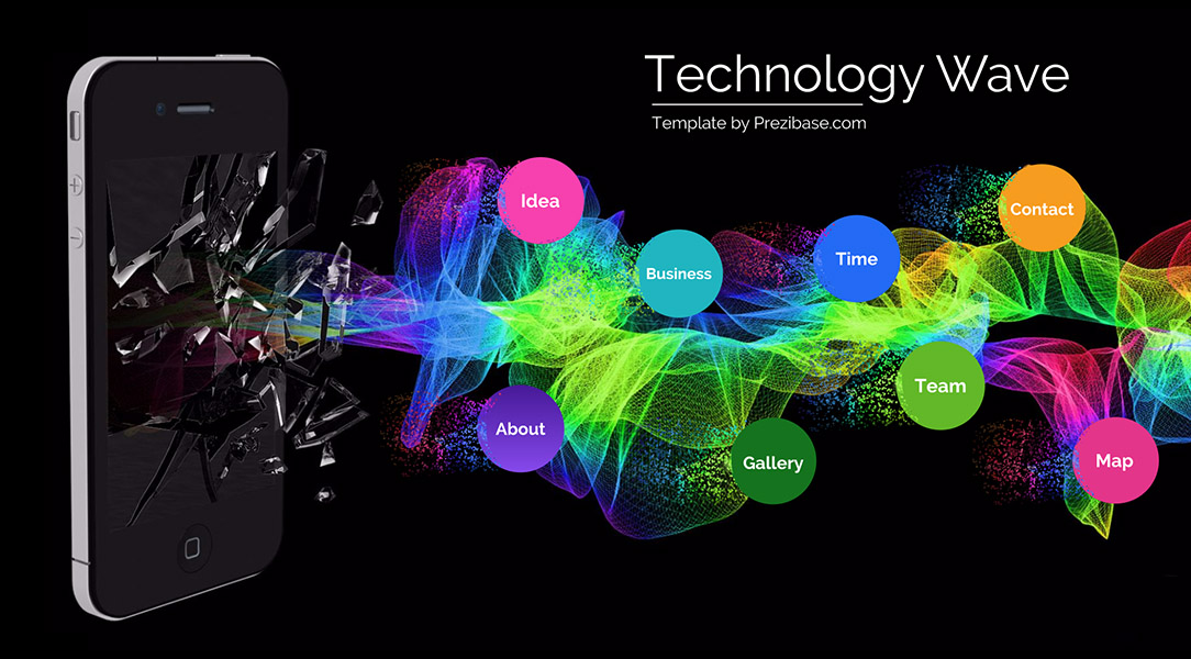 Creative technology mobile apps prezi next presentation template