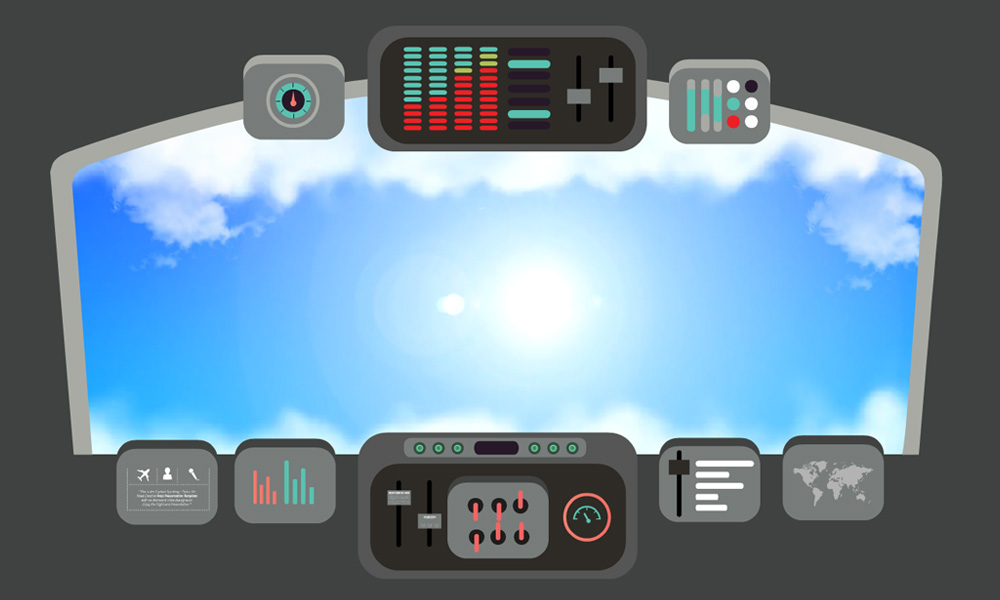 Animated clouds and sky flying with airplane prezi template