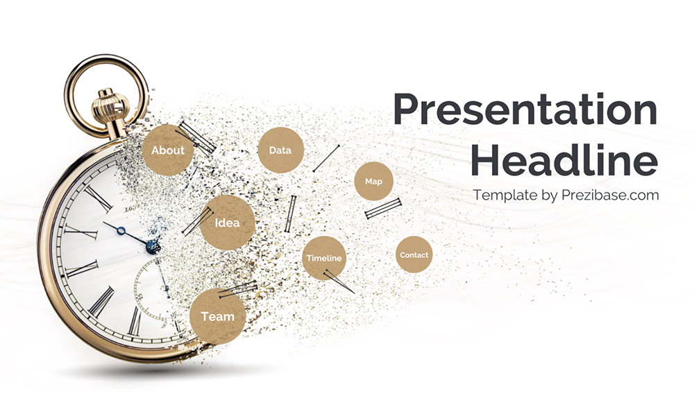 Time flow broken clock fading away creative time presentation template for prezi