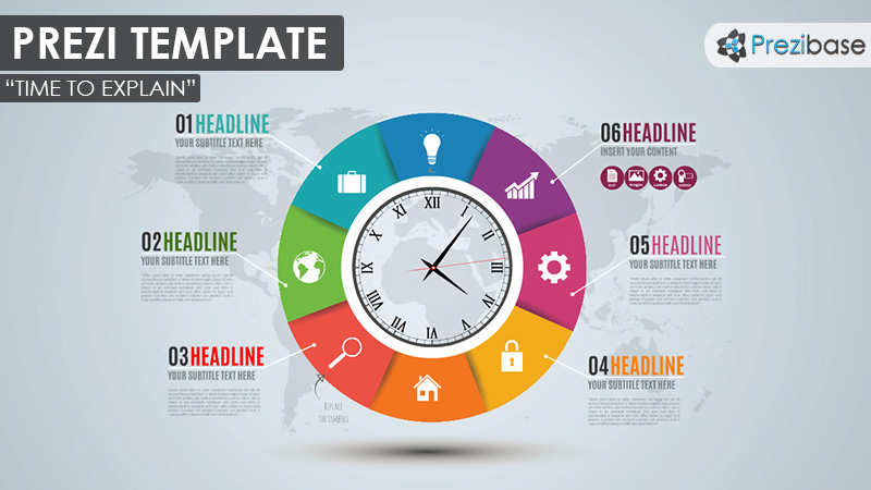 Colorful circle clock time business prezi template ideas