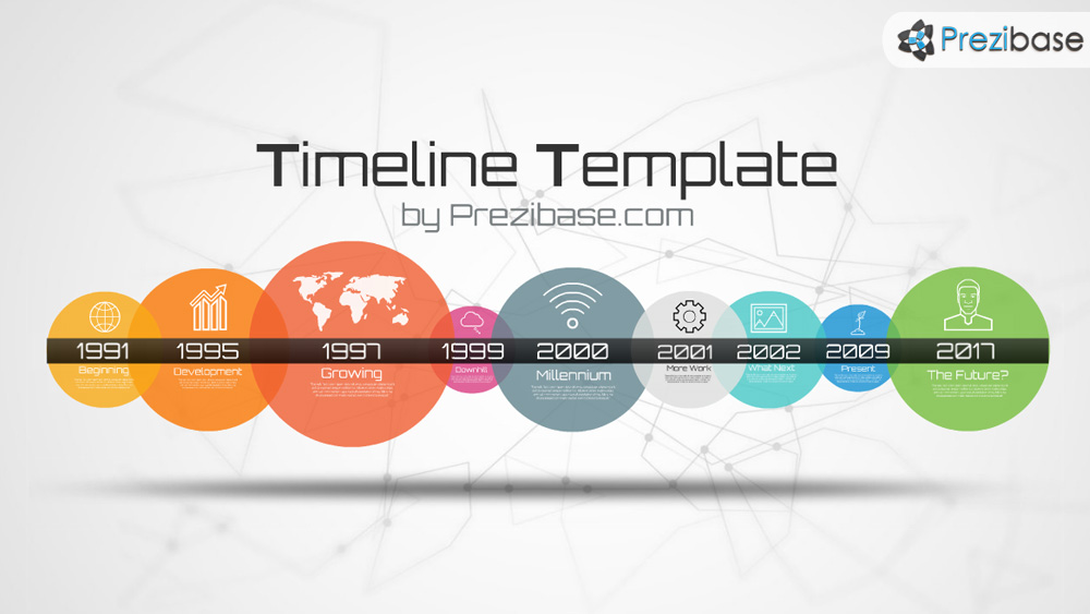 Simple colorful timeline template with circles prezi template