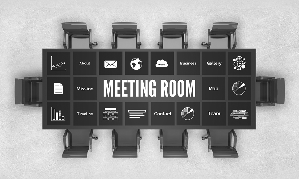 Business meeting in company board room table top view office presentation template for prezi
