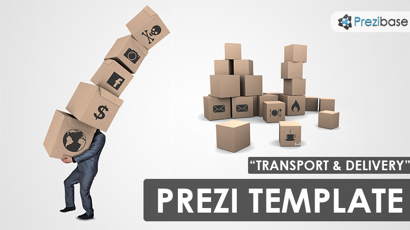 Transport delivery and logistics 3d boxes prezi template