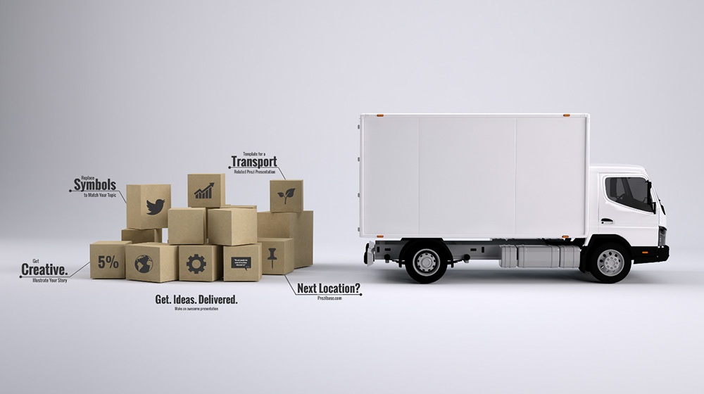 Transport 3D Logistics truck and Boxes prezi presentation template