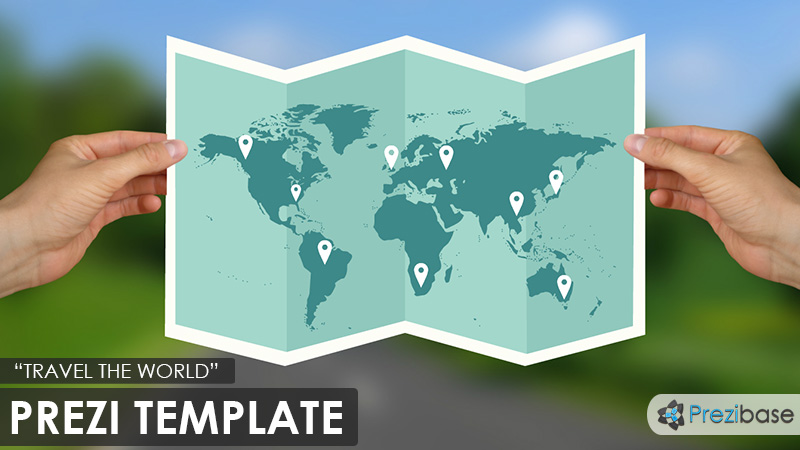 travel the world fly map vacation prezi template