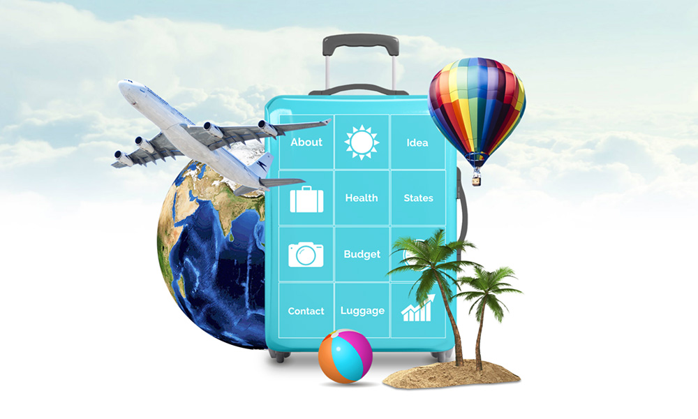 3D travel vacation and holiday plans with tourism presentation prezi template