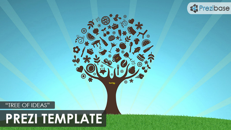 Tree of ideas icons creative prezi template