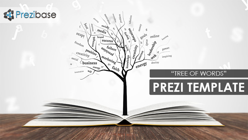 tree of words growing from book education school prezi template
