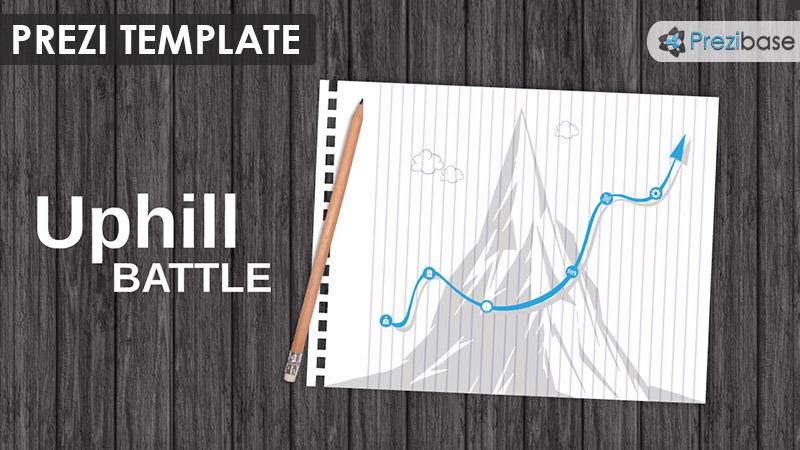 uphill battle mountain climb arrow line chart prezi template