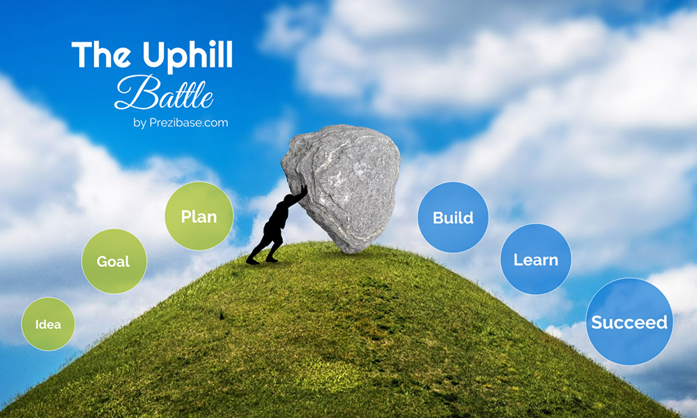 Overcome problems bigg uphill battle push rock prezi next presentation template