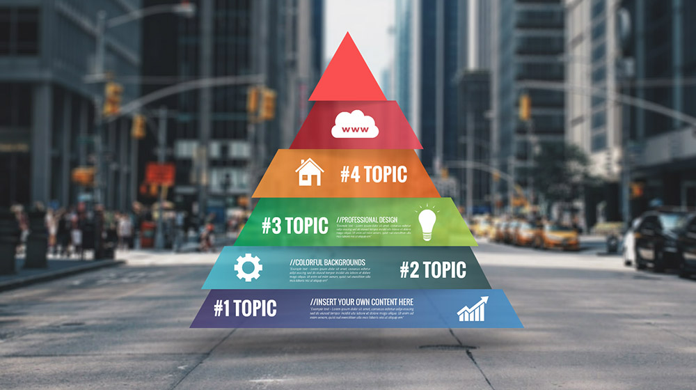 3D city street colorful infographic pyramid template for Prezi presentations