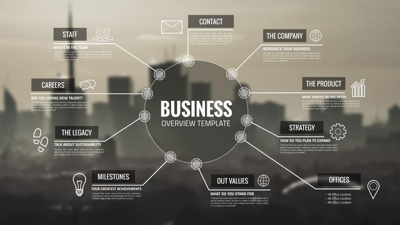 Business company overview urban infographic prezi template