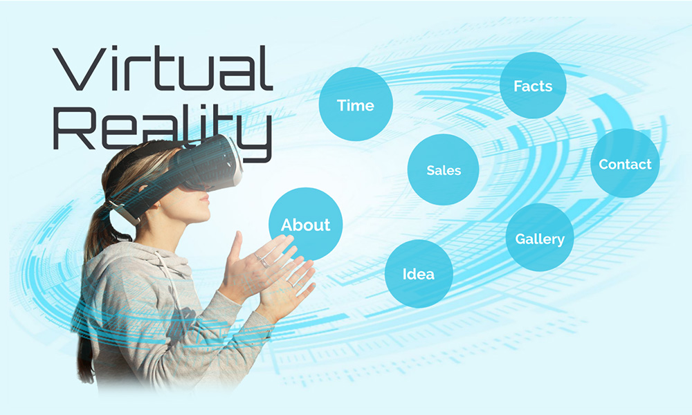 VR Virtual reality headset 3D prezi next presentation template