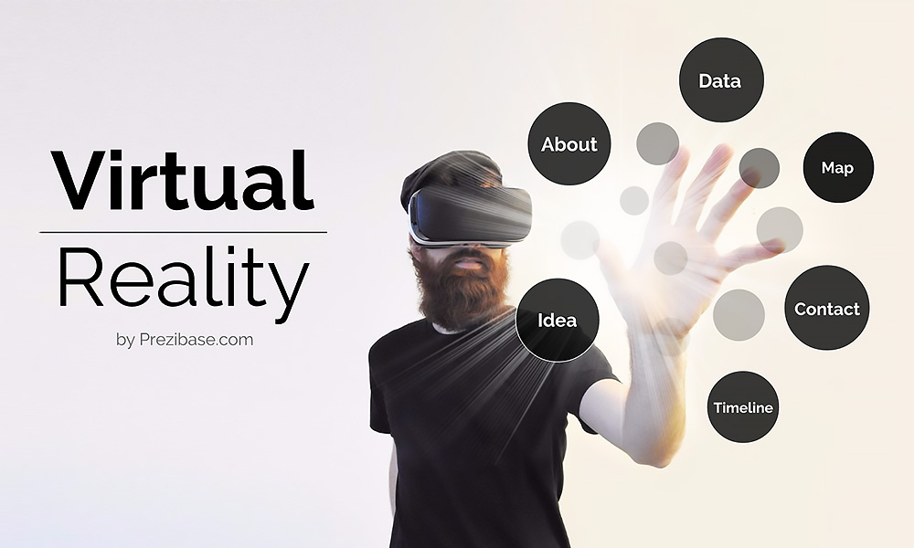 Creative virtual reality 3D Prezi Next presentation template