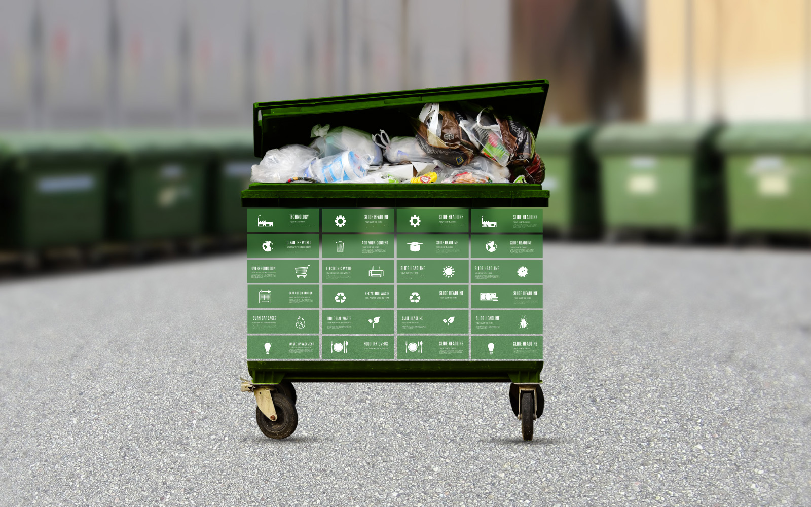Waste management green garbage container prezi presentation template