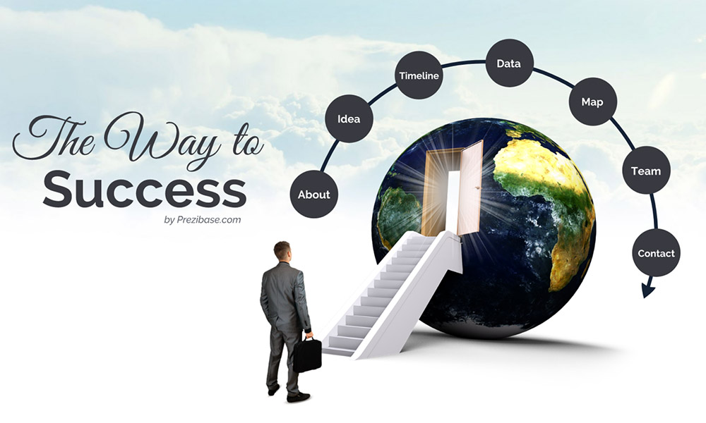 3D world with stairs and businessman prezi next presentation template