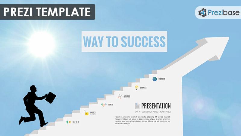 businessman running up stairs success prezi template