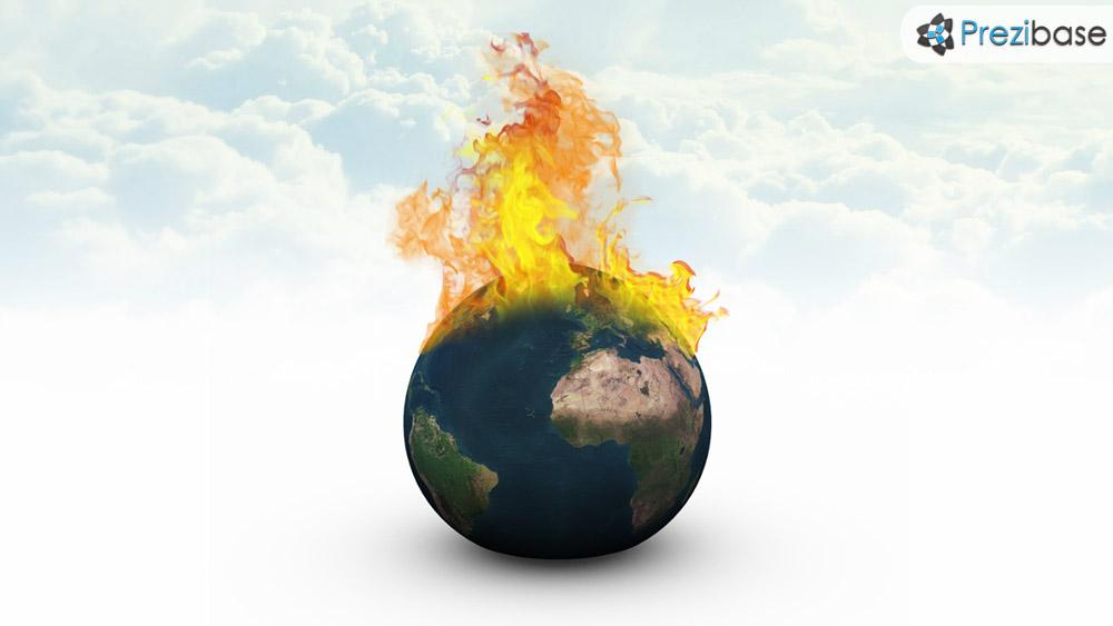3D world burning climate change and global warming prezi presentation template