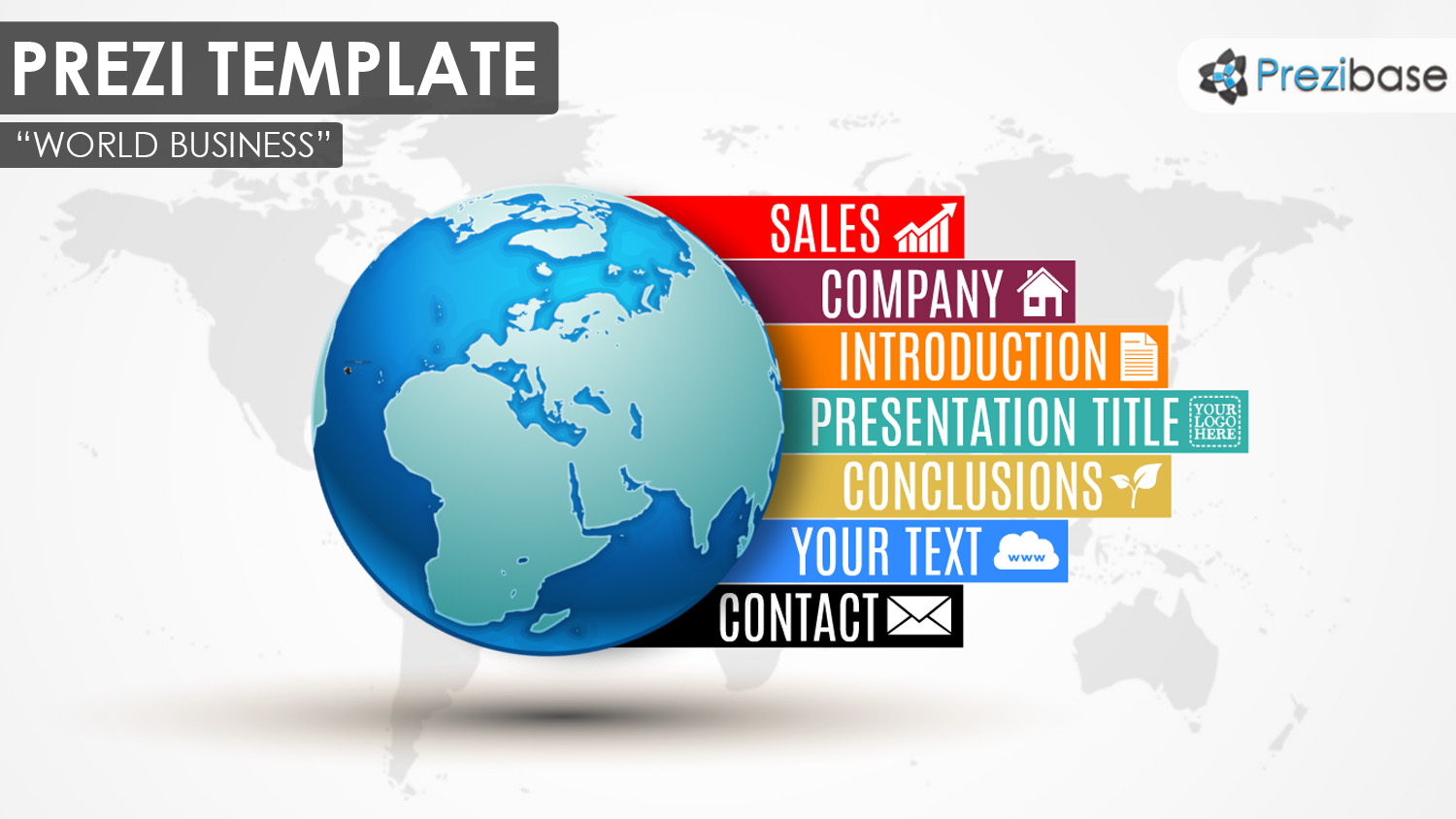 Business prezi templates prezibase world 3d business colorful creative map prezi template accmission Gallery