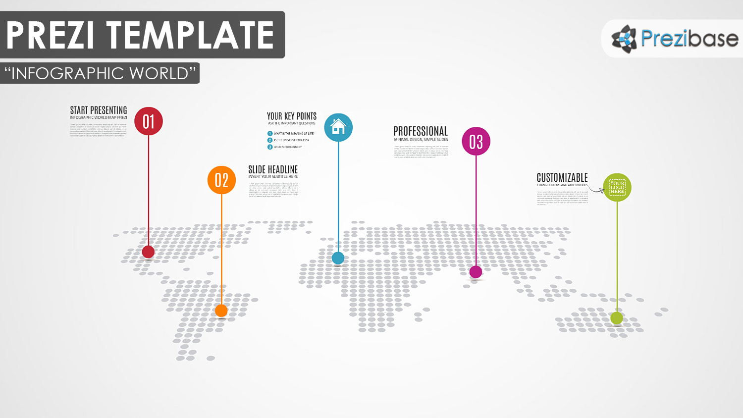 infographic dotted squares world map prezi template
