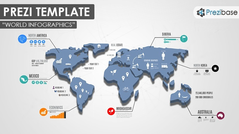World Map infographics business earth prezi template