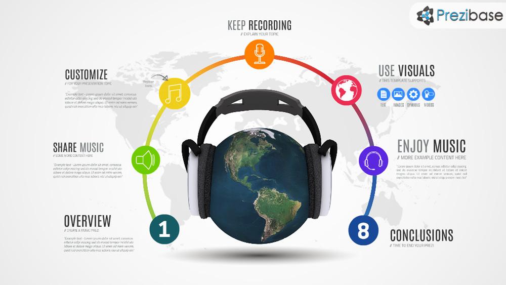 3D world music globe headlines prezi template for presentations