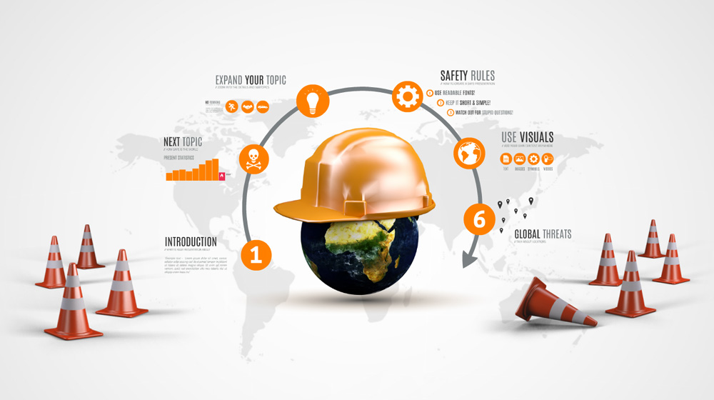 Safety world with Helmet presentation template for Prezi