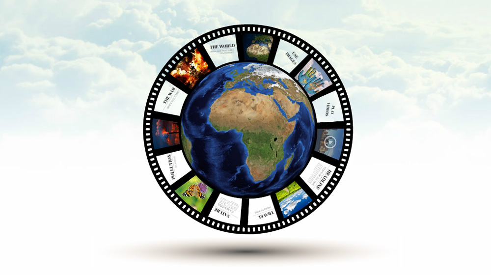 World story 3D Prezi template for presentations