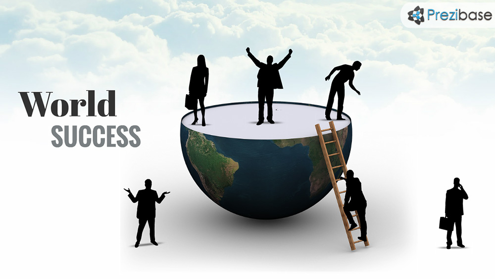 World success 3d creative business people climbing career prezi presentation template