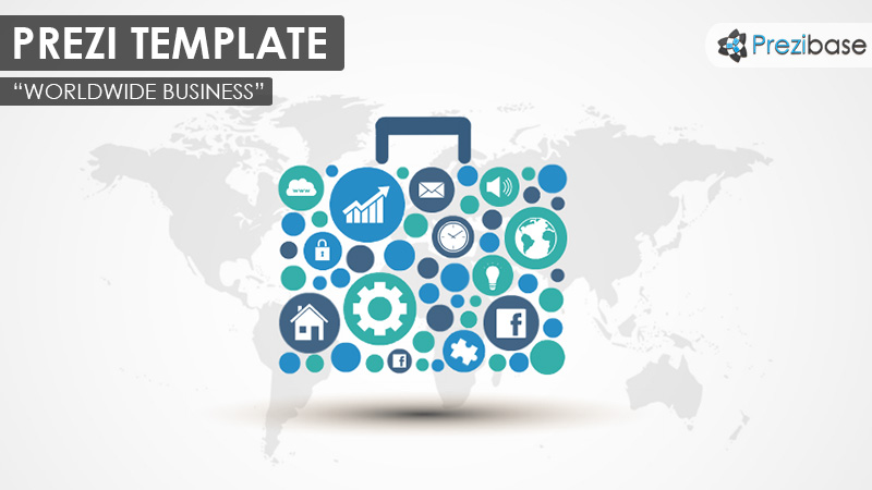 worldwide business briefcase suitcase portfolio prezi template