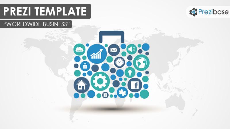 worldwide business briefcase suitcase portfolio prezi template