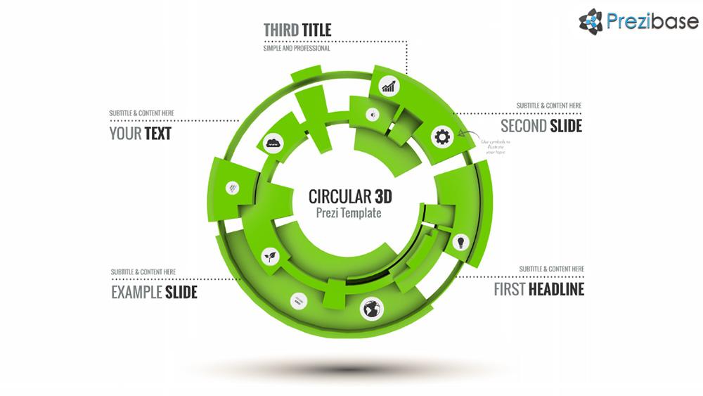 Creative 3D futuristic circle professional business prezi presentation template