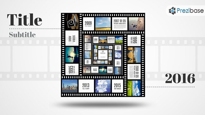 3D square photo frame template in movie film tape prezi template for presentations