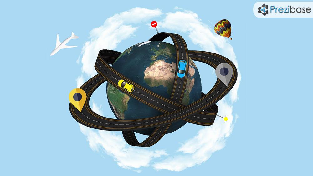 3D world planet as an atom transport road prezi presentation template