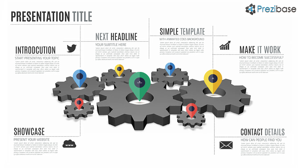 Animated cogs gears professional infographic prezi presentation template