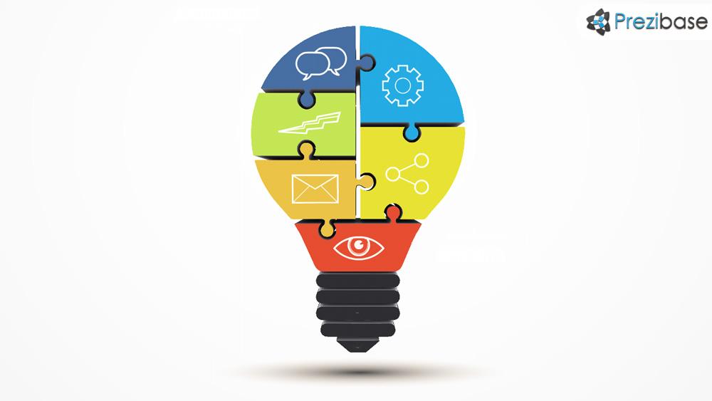 3D jigsaw puzzle light bulb ideas prezi template for presentations