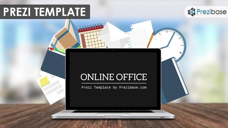 3d business laptop prezi template
