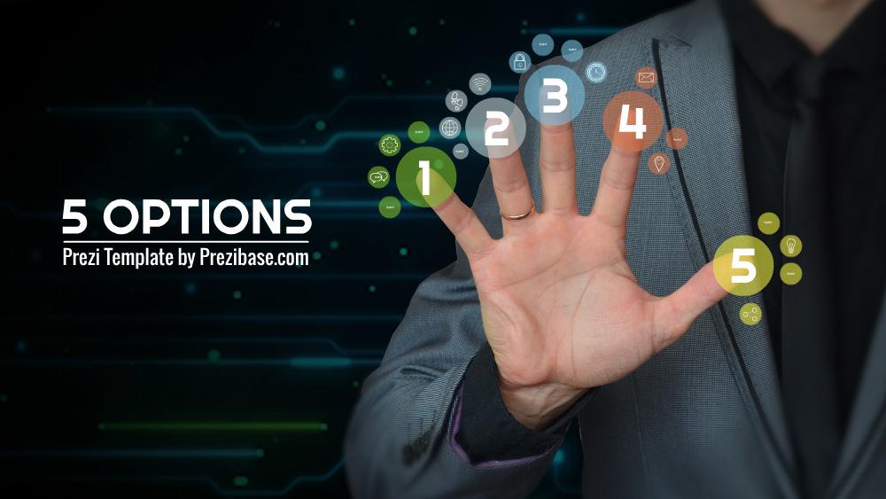 5 different options businessman prezi template
