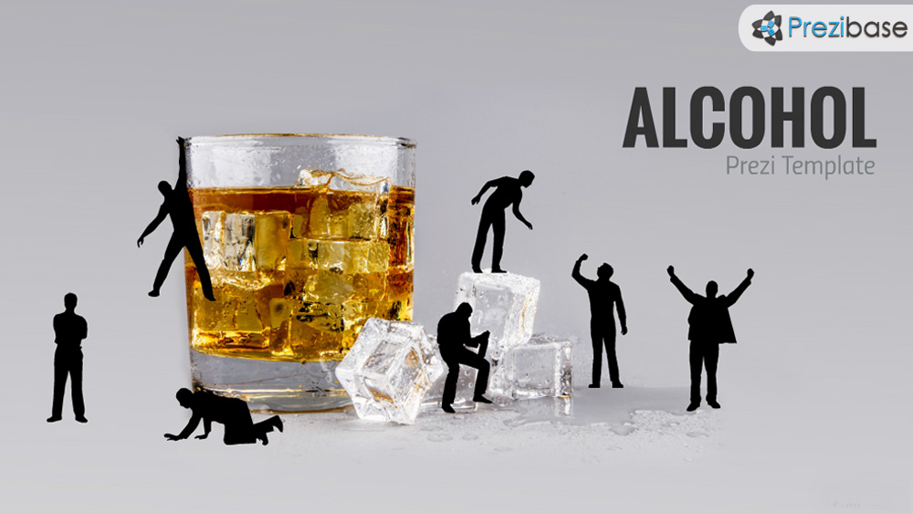 Alcohol drinking whiskey glass ice prezi template for presentations