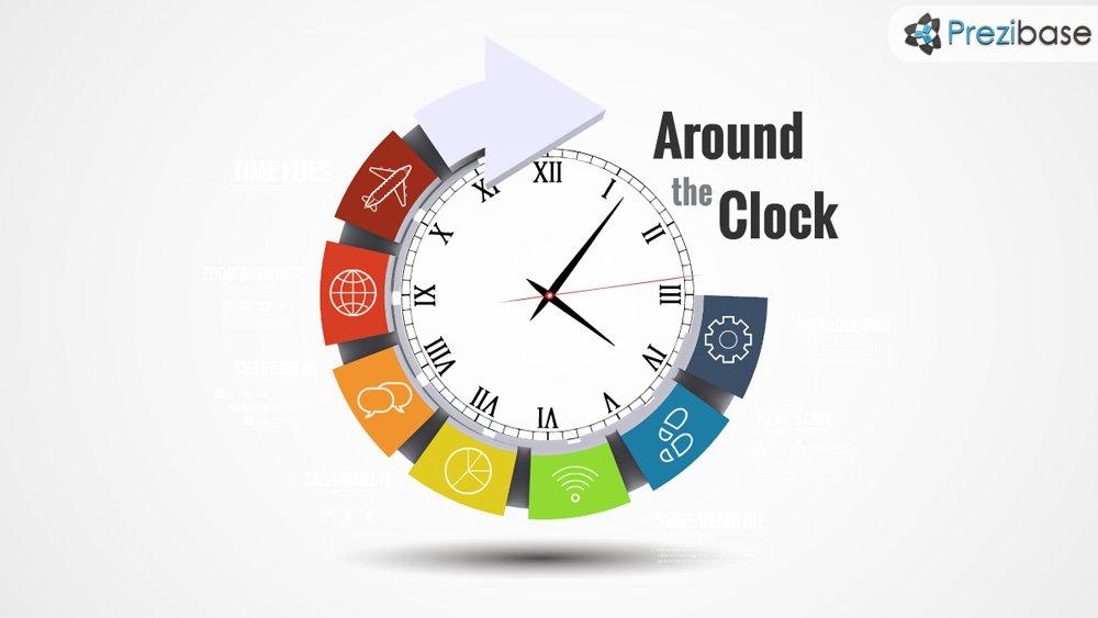 3d circle clock time and deadlines prezi template