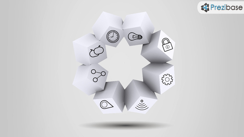 Boxed ideas creative cubes 3d circle prezi template for presentations