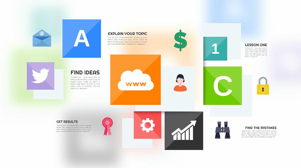 colorful squares modern box rectangle layout interface presentation prezi template