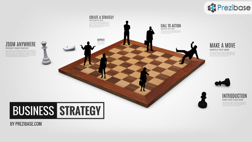 Business strategy with chess table board and silhouettes prezi presentation template